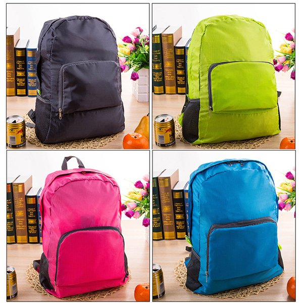 best selling 100pcs Nylon Foldable Folding Collapsible Portable Zipper Travel Hiking Backpack Outdoor Sports Shoulder Bags 4colors