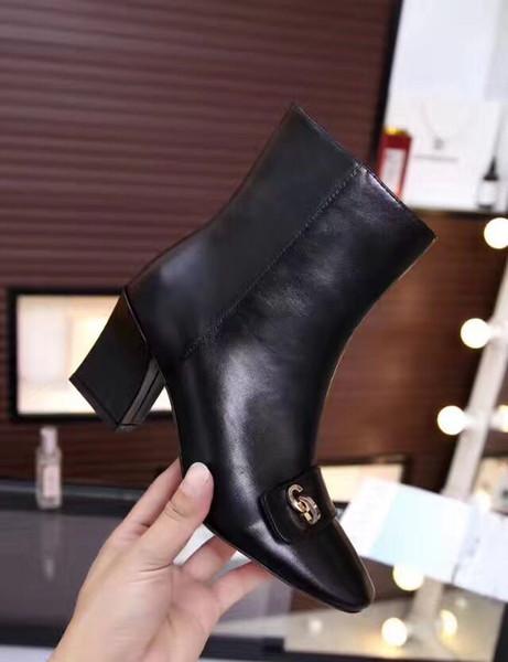 fashionville*u749 black genuine leather thick heel buckle short boot square tote fashion luxury designer work
