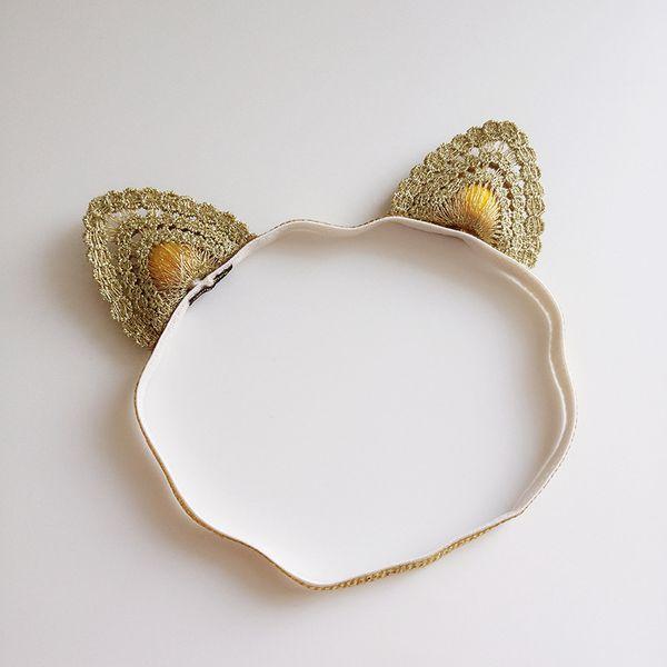 12 Pcs Cute Gold Lace Cat Ears Baby Headbands Hairbands Newborn Infant Hair Accessories Kids Hair Accessories Beautiful HuiLin BH02