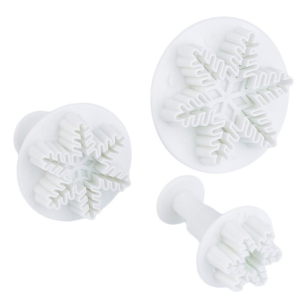 3PCS Snowflake Plunger Mold Cake Decorating Tools Cake Tools Cookie Cutters Fondant Cake Decorating Sugar Craft Cutter