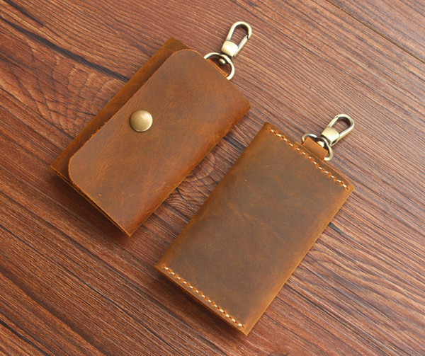 wholesale crazy horse genuine simple key wallets/small key holders/fashion gift/small leather key bag