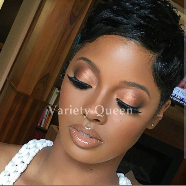 Großhandel Rihanna Kurze Haare Brasilianische Bob Keine Spitzeperücken Kurze Glueless Volle Spitzefrontseitenperücken Für Schwarze Frauen 2017 Heißer