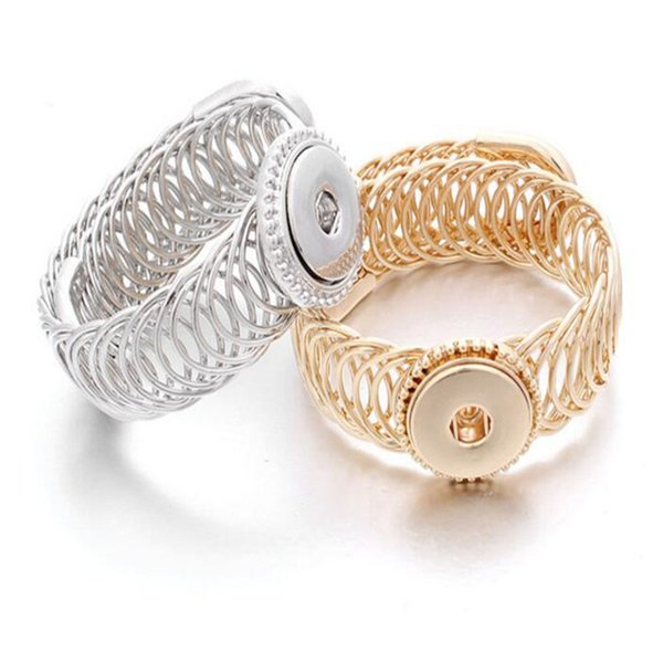 New Gold Silver Snap Bracelet For Women Fit DIY 18mm Snap Jewelry Elastic Adjustment Snap Buttons Bracelet Jewelry