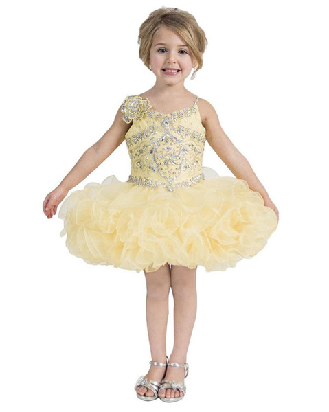 National Girls Yellow Pageant Cupcake Dresses Infant Tutu Gowns Toddler Baby Girls Ruffled Party Mini Pageant Dress