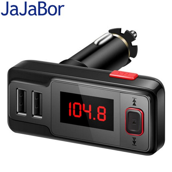 Wholesale-Bluetooth Car Kit Handsfree Dual Interface USB Port Charging Aux stereo Car MP3 Player FM Transmitter with Remote Control