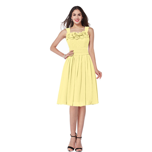 Free Shipping Spaghetti Straps Yellow Chiffon Bridesmaid Knee Length Dress With Handmade Flower 100% Good Quality