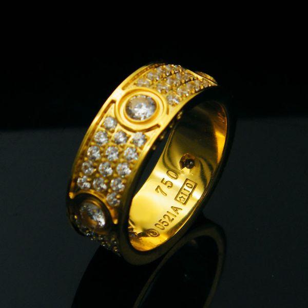 Titane acier six percer avec diamant Amour Anneaux pour Femmes Hommes Couples Anel Cubique Zircone Anneaux De Mariage Bandes Bague Femme