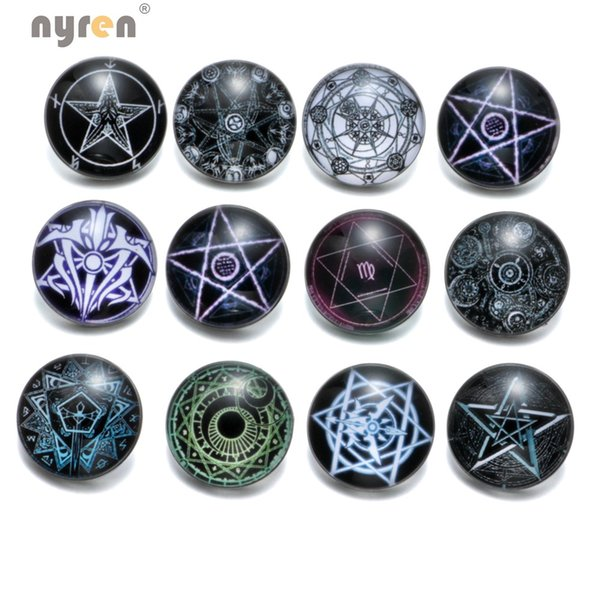 KZ0368 12pcs/lot Magician's Circle 18mm Snap Button Jewelry Faceted Glass Snap Fit DIY Bracelet Interchangeable Ginger Snaps Jewelry