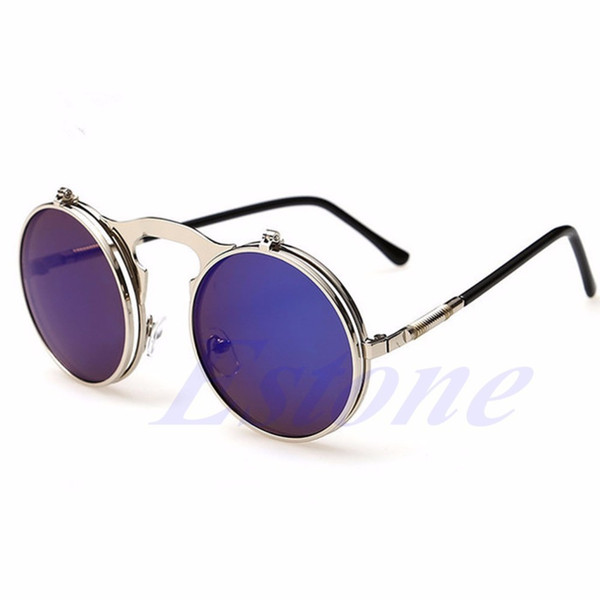 Trasporto all'ingrosso-Libero NUOVI Uomini Donne Vintage Round Metal Frame Flip Up Occhiali da sole Occhiali Eyewear Lens-J117