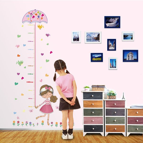 2017 Fai da te Giraffe Altezza Grafico Misura Adesivi murali Decorazione da parete in PVC Cartoon Flower Baby girl Camera dei bambini Decorazione camera da letto home decor
