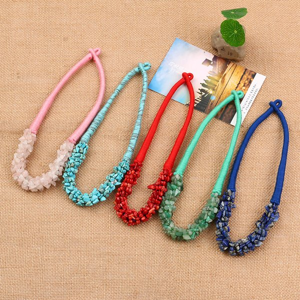 Bohemian Necklace Necklaces Hot Sale Colorful Natural Stone Chockers Necklaces For Women Girl Jewelry Wholesale Free Shipping 0606WH