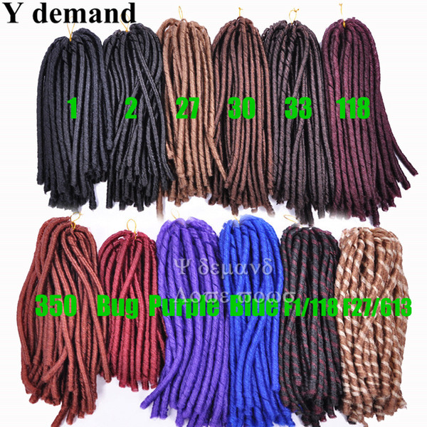 "Soft Dread Locs 14""-16"" 100% Kanekalon Crochet Twist Braids Synthetic Soft Dread Locks Faux Locs Braid Hair Extensions"