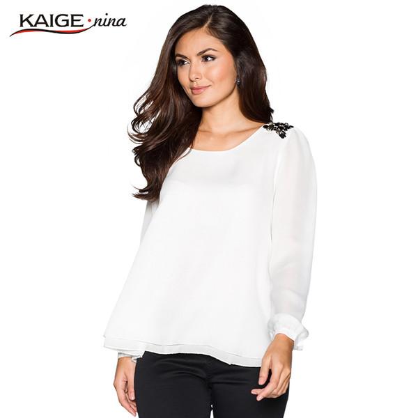 Toptan-Bluz Kadınlar 2017 yeni Üst Tam Kollu Ofis Gömlek Kadın moda o-boyun Tops Artı Boyutu Rahat saf renk Kadın Giyim 98026