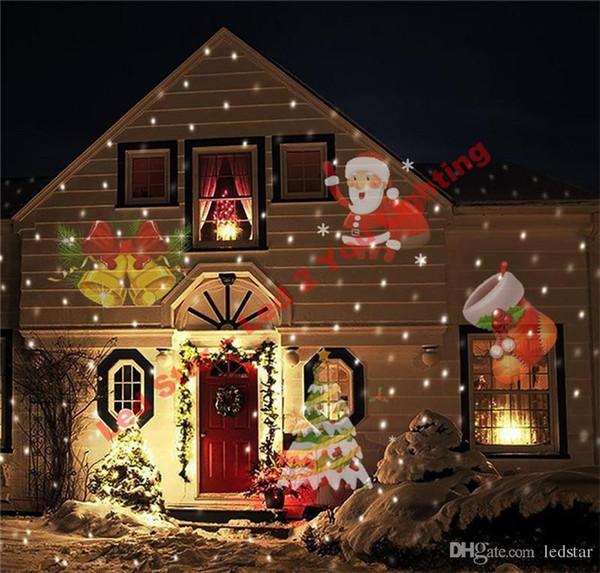 Proyector de navidad Luz láser 12 Lentes reemplazables 12 Patrones de colores Luz de noche Boda de hadas Jardín Césped Lámpara Paisaje Láser Iluminación