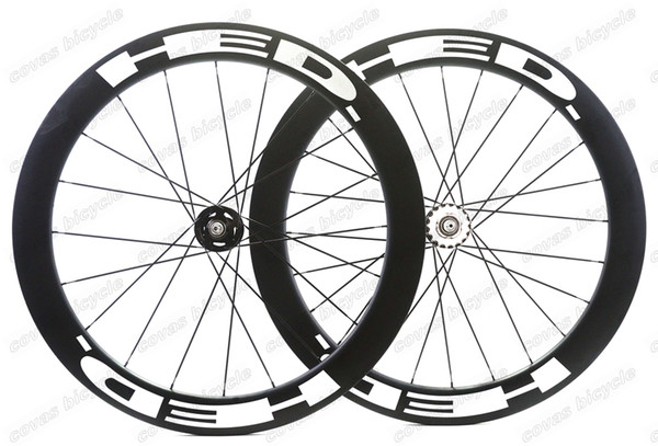 Free shipping 700c bicycle wheels track 60mm clincher wheels carbon track wheel fixed gear single speed wheelset with hub Novatec 165/166