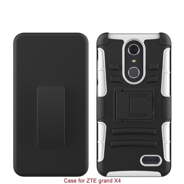 Hard Back Cover Combon Case With Kickstand For ZTE Grand X 4 PC+Silicone 2 IN 1 Anti-shock Slim 100% Fitted Shell Protector