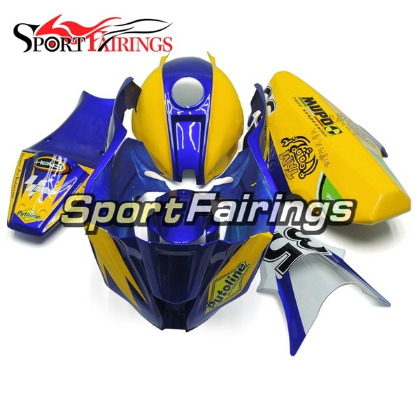 Kit de careta completa de Fiberglass Racing para Kawasaki Ninja ZX10R 2011 - 2015 Plásticos ABS Blue Yellow Bodywork ZX-10R 14 15 Kit de carenado