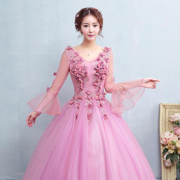 robe à manches longues rose pâle évasée robe royale princesse robe médiévale princesse robe Renaissance robe Victoria