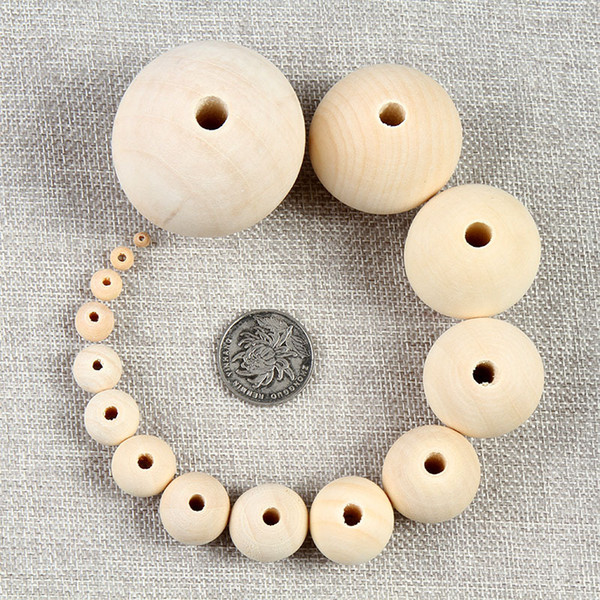top popular Natural Wood Spacer Beads 10 12 14 16 18 20 25 30 35 40mm For Charm Bracelet Jewelry Making Baby Teether Wooden Beads 2021