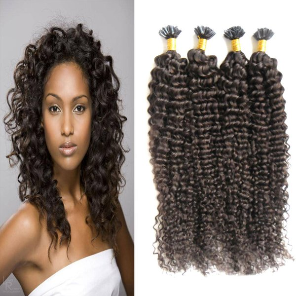 Estensioni dei capelli umani a punta di capelli ricci malesi 200g Prolunghe naturali pre-incollate di cheratina brasiliana per capelli umani