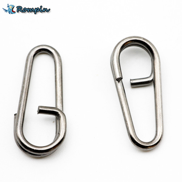 Rompin 50pcs/lot Stainless Steel bent dead Oval Split Rings Loop Lure Assorted Swivel Snap Fishing Tackle Connector 16 18 21mm