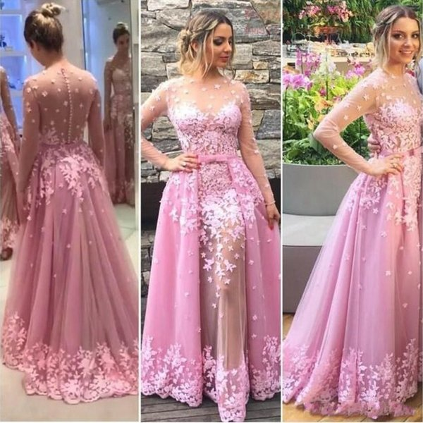 2017 Newest Pink Long Sleeve Evening Dresses Sheer Neck See Through Back Celebrity Party Dresses Evening Wear With Detachable Tulle Skirt