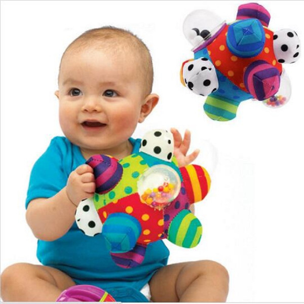 Wholesale- Baby Fun Pumpy Ball Cute Plush Soft Cloth Hand Rattles Bell Training Grasping Ability Toy For Baby Boys Girls Ring Toys