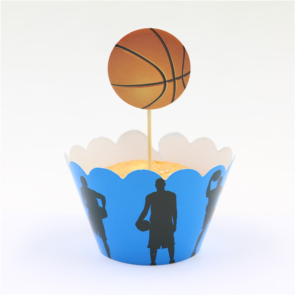 Wholesale- Kids play basketball happy Birthday Party Decorative paper Cupcake wrappers baby shower wedding cartoon Toppers Picks 24pcs/lot