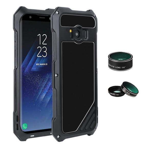 IP54 Life Waterproof Phone Case For Sumsung S8 S8 Plus Aluminum Alloy Ultra-Thin Phone Cover With Wide-angle Fish Eye lens Macro lens