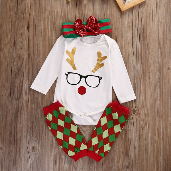 Baby Clothing Christmas Gift Scottish Grid Leg Warmer+Romper+Headband 3Pcs Suit Glasses Lovely Rudolph Reindeer Kid Boy Girl Toddler 0-24M
