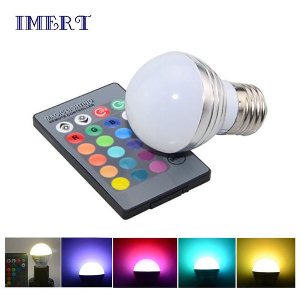 LED RGB-Glühlampe 3W 16 Farbwechselnde 3W LED-Scheinwerfer RGB-LED-Glühlampe E27 mit 24-Tasten-Fernbedienung 85-265V 12V