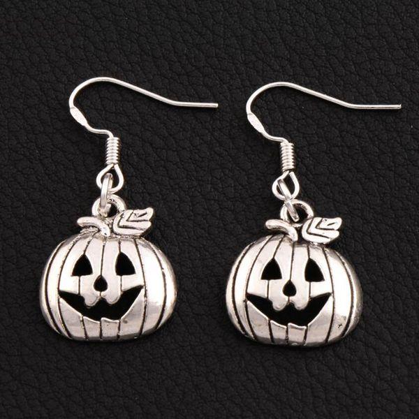Halloween Pumpkins Earrings 925 Silver Fish Ear Hook 30pairs/lot Antique Silver Chandelier E1098 36.1x15.9mm