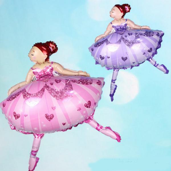 Pink Purple Ballet Dance Girl Foil Balloons Princess Balloon Baby Girl Birthday Party Ballet Helium Dance Girl Decoration B39Q