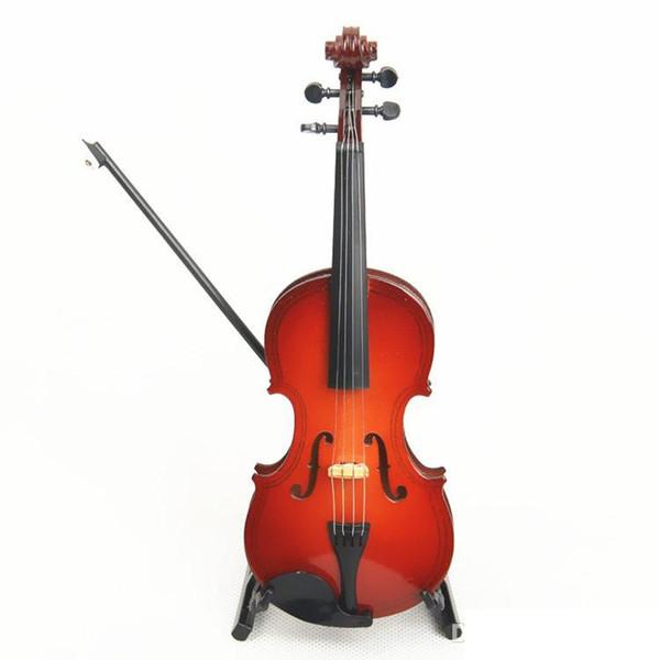 top popular Free Shipping Wooden Mini Instrument Violin Decoration Wooden Mini Violin Toy 14cm 2021