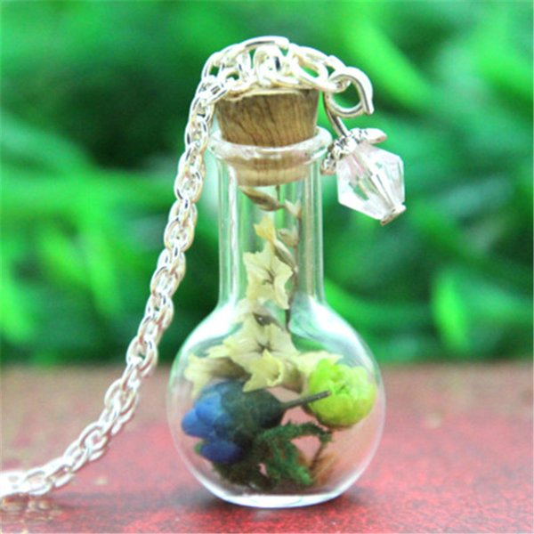 10 adet Renkli Çiçek Cam Şişe Kolye Moss kristal gümüş zincir kolye woodland takı