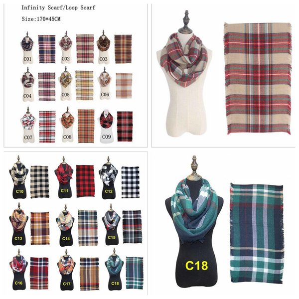18 Colors Plaids Infinity Scarves Grid Loop Scarf Blankets Women Tartan Oversized Shawl Lattice Wraps Fringed Cashmere Pashmina YYA176
