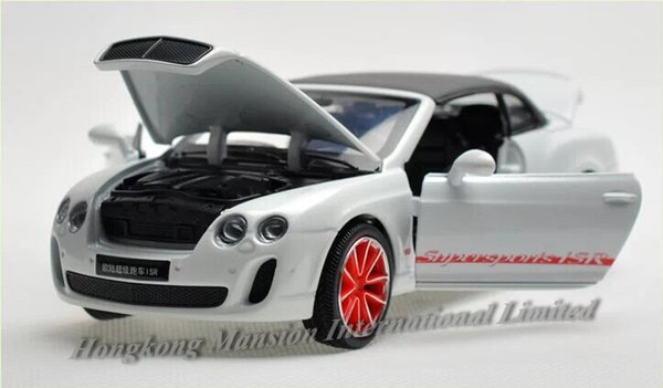 1:32 Scale Alloy Metal Diecast Car Model For Bentley Continental Supersports ISR Collection Pull Back Toys Car With Sound&Light - With Hood