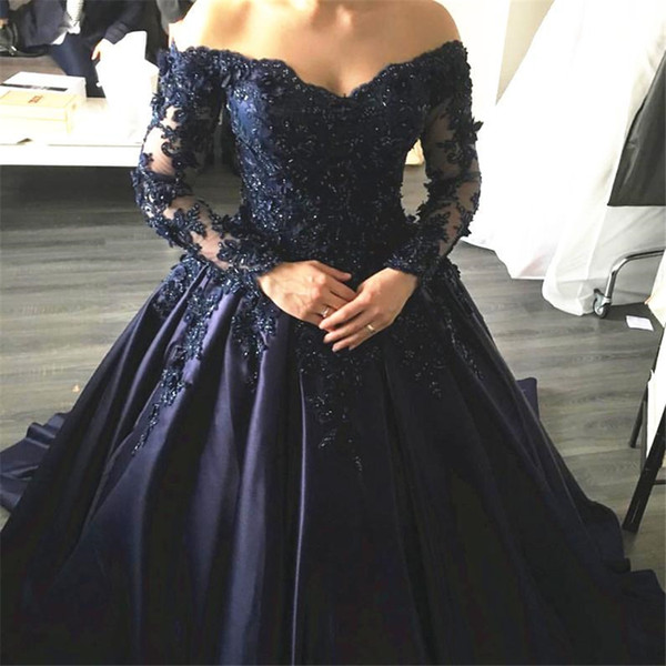 best selling Navy Blue Lace Appliques Long Sleeves Prom Dress Ball Gowns Off Shoulder Crystals Evening Dress Party Dress Formal Gowns