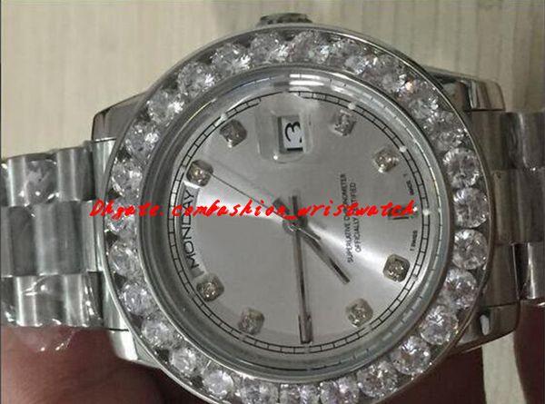 Orologi di lusso in acciaio da uomo 36mm 18K bianco più grande quadrante in diamanti con lunetta 2YR orologio da uomo automatico da polso