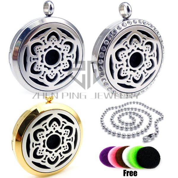 Chain as gift! Round Silver Hexagonal Flower (30mm) Aromatherapy Stainless Steel Free Pads Essential Oils Magnetic Diffuser Locket
