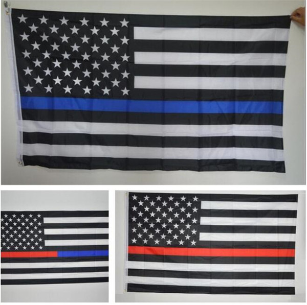 200pcs US Flags Blue Line USA Police Flags 3x5 Foot Thin Red Line Black White And Blue American Flag with Brass Grommets G070
