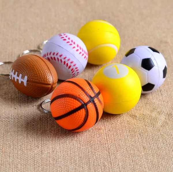 Free shipping [OEM logo] PU football key chain toy ball foam toys KR177 Keychains mix order 20 pieces a lot