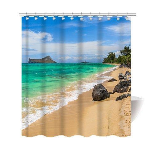 2018 Beautiful Hawaiian Beach Shower Curtain Polyester Fabric Mildew