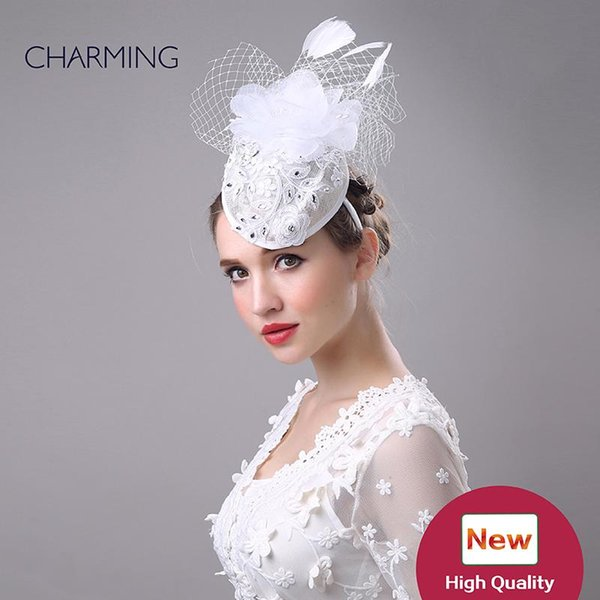 Wedding hair hats white British wedding hats Mesh and feather material Occasion Elegant hats for wedding