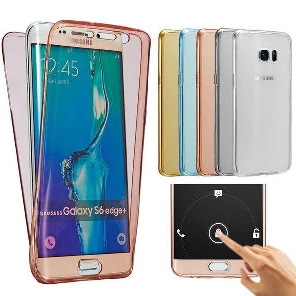 Coque souple en TPU Transparent 360 pour Samsung S7 Edge Plus Note 7 5 4 A7 A8 A9 Coque arrière avec écran tactile