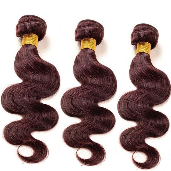I capelli vergini brasiliani colorati dell'onda del corpo della Borgogna intreccia 3 estensioni di trama 100% economiche dei capelli umani dei pacchi 99j 10-30 pollici
