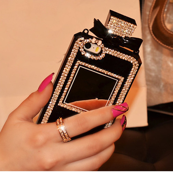 Luxury TPU Chain Perfume Bottle Case Bling Rhinestone Diamond Cover For iPhone 7 8 6 6s Plus X Xs Max Xr 5S SE