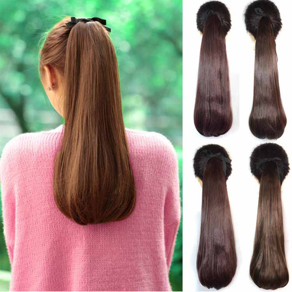 Sara Drawstring Ruban Droite Queue De Cheval 45CM 18INCH Clip dans Extensions de Cheveux Populaires Queue De Cheval Pieces Synthétiques Ponytails