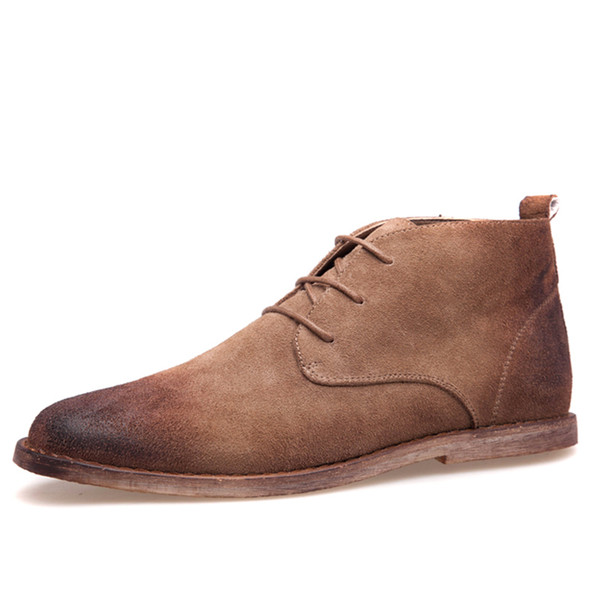 Wholesale-New Nubuck Leather Oxford Lace Up Formal Dress Boot Fashion Mens Round Toe Chukka Winter Shoes