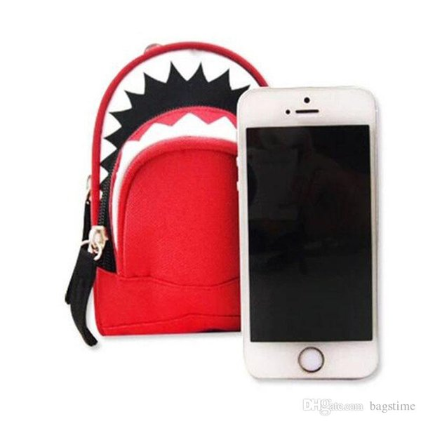New Arrival Universal Mini Fashion Shark Waist Bags Wallets For Iphone Case Red And Blue Casual Holders With High Quality
